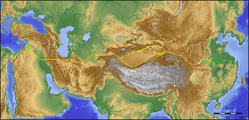 A map showing Silk Road
