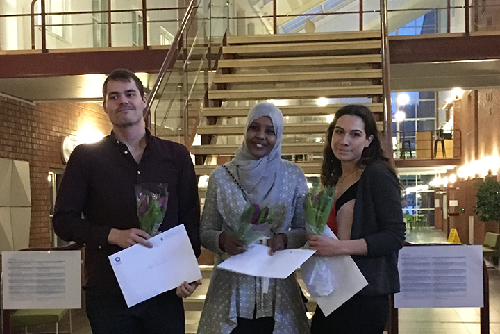 Johan Camsund, Fawsiya Hassan and Sara Corrigox - Award recipients for their degree projects